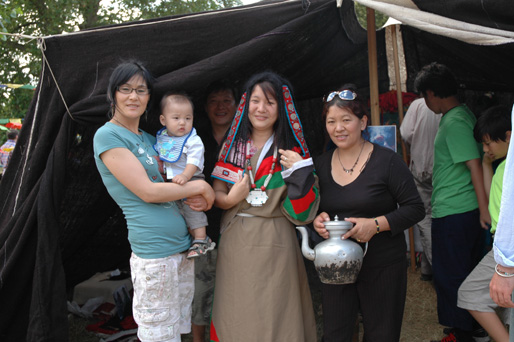 London Tibetans enjoying the traditional nomad tent and belongings