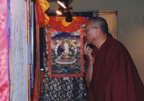 The Venue was Tsug Lha Khang (His Holiness Temple Dharamsala), inaugarated by Ven Alak Tsaye (pictured) who was Minister of Religious Dept at the time, this was one of the first times a tibetan artist had exhibited their own works. 2 years in preparation, this was the official start of tibet - a living tradition