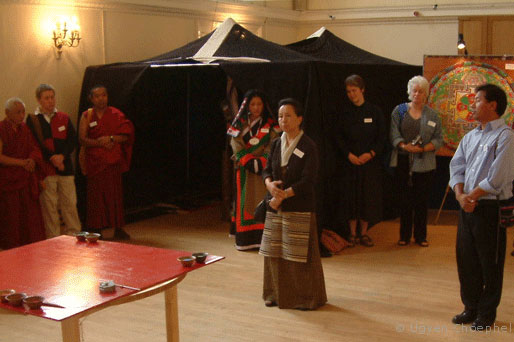 Mrs Takla, Office of Tibet's representative in London opened the exhibition.