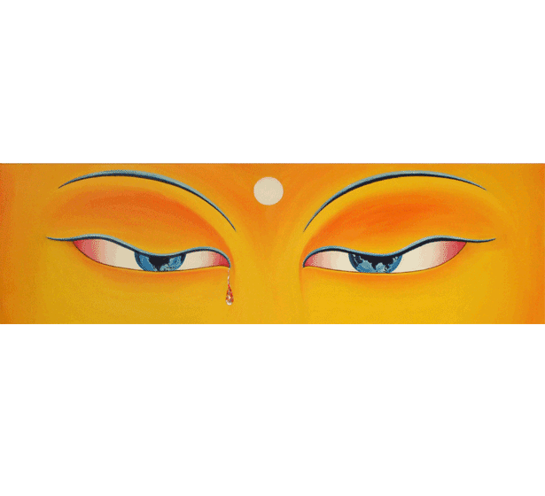 The eyes of Buddha look down upon the world and weep fiery tears of compassion at the havoc we have made of our planet