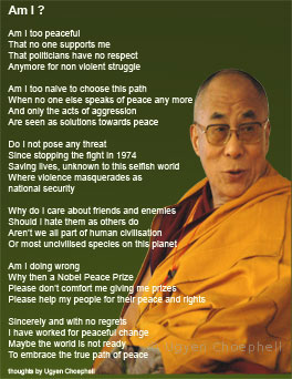 My attempt at poetry in English, trying to guess at what His Holiness the Dalai Lama might be thinking