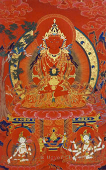 Painted using traditional mineral paints, this is an example of a 'mar thang' or red thangka, depicting Amitayus (eternal life)