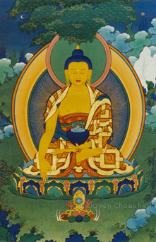 The Buddha of our present age, Sakyamuni is the historic figure of Prince Siddharta, who is seen here attaining enlightenment at the end of his long quest for truth under the Bodhi tree