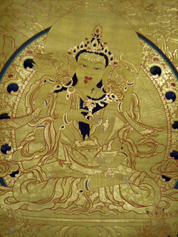 Embodiment of purification, here painted in the ser thang style (gold thangka) and burnished with details