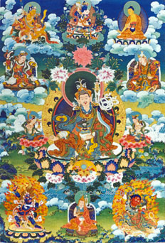 One of my original works from the 1997 exhibition, this thangka depicts the eight manifestations of Guru Rinpoche (Padmasambhava)